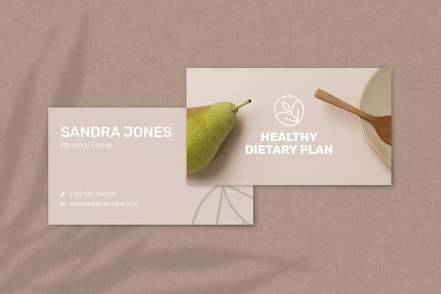 Вектор шаблона визитной карточки диетолога спереди и сзади