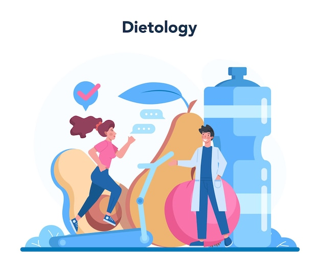 Nutritionist concept. nutrition therapy with healthy food and physical activity. dietology consultation concept.