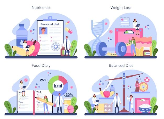 영양사 개념을 설정합니다. 건강한 음식과 신체 활동을 통한 영양 요법. 체중 감량 프로그램 및 다이어트 개념.