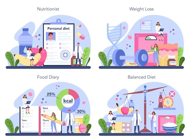 Nutritionist concept set. nutrition therapy with healthy food and physical activity. weight loss program and diet concept.