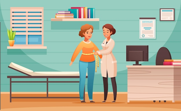 栄養士のオフィスで女性のクライアントのボディマス指数制御を使用して漫画の構成をカウンセリングする栄養士