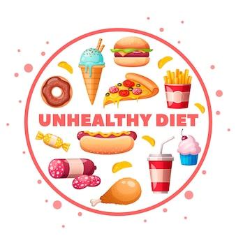 不健康な製品を避ける栄養士の栄養士の食べ物は、ハンバーガー ピザ ドーナツ カップケーキを使った円形の構成を漫画します
