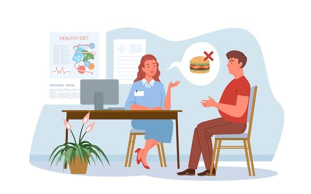 栄養士の診察、病院での会話。漫画の栄養士の女性と男性の患者のキャラクターは、健康的な食事、白で隔離された無糖の健康食品について話します。
