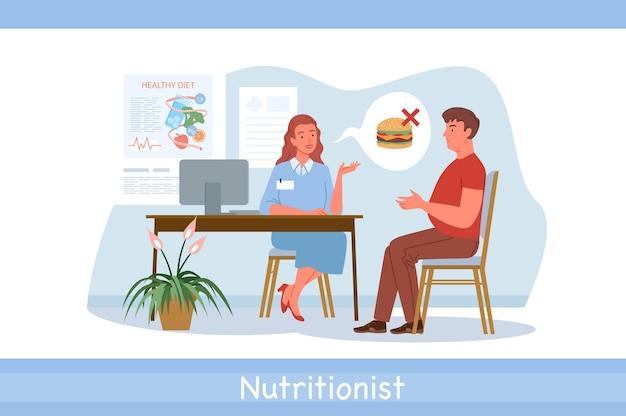 栄養士の医師の診察、病院のベクトル図での会話。漫画の栄養士の女性と男性の患者のキャラクターが健康的な食事、白で分離された無糖の健康食品について話します