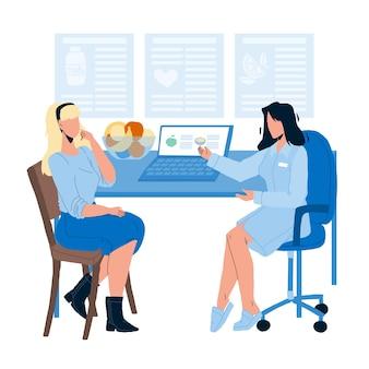 환자 벡터에 상담을 주는 영양사. 영양사는 여성과 건강한 음식에 대해 이야기하고 다이어트 계획을 세웁니다. 건강 관리 영양 평면 만화 일러스트 레이션에 대한 캐릭터 상담