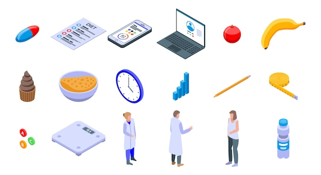 Nutritionist icons set, isometric style