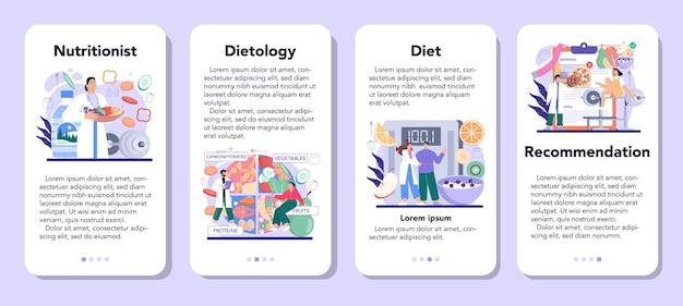 栄養士のモバイルアプリケーションのバナーセット。健康的な食事と身体活動を伴う栄養療法。減量の推奨事項とダイエット計画。漫画スタイルのベクトル図