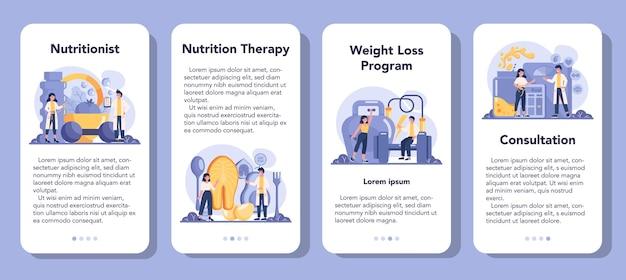 Nutritionist mobile application banner set