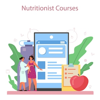 Nutritionist online service or platform. diet plan with healthy food and physical activity. nutritionist blog.