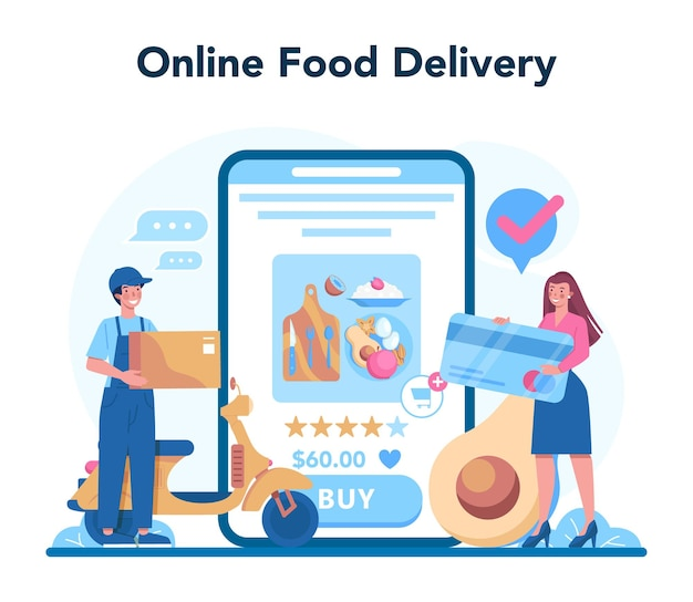 Nutritionist online service or platform. nutrition therapy with healthy food and physical activity. online food delivery. vector illustration
