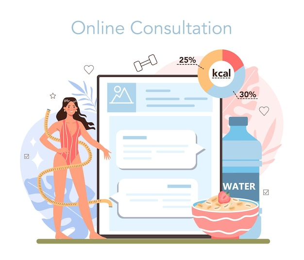 Nutritionist online service or platform. nutrition therapy with healthy food