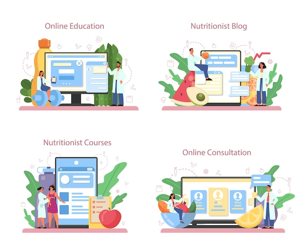 Nutritionist online service or platform set. diet plan with healthy food and physical activity. online education, nutritionist blog, online consultation, courses.
