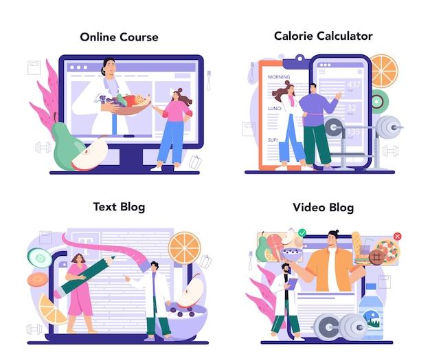 Nutritionist online service or platform set. nutrition therapy