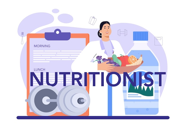 Nutritionist typographic header nutrition therapy with healthy food
