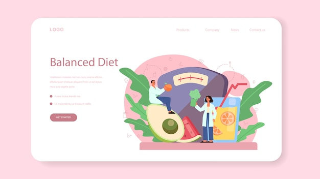 Nutritionist web banner or landing page. diet plan with healthy food and physical activity.
