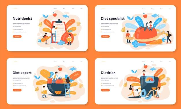 Nutritionist web banner or landing page set
