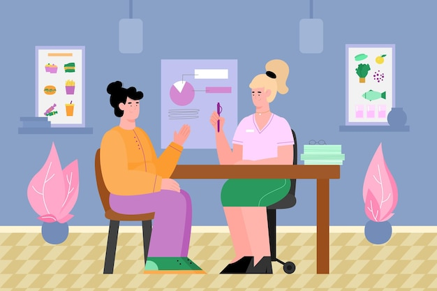 Nutritionists office with doctor consults patient cartoon vector illustration
