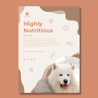 Nutritious animal food poster template