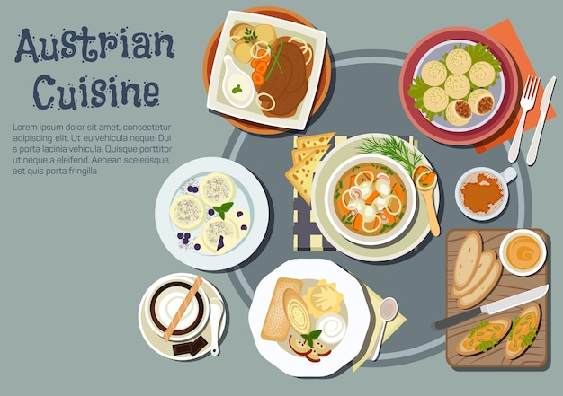 Nutritious austrian cuisine with open sandwiches topped with liptauer spread, goulash and pork dumplings, baked pork with boiled potatoes and garlic sauce, cups of coffee
