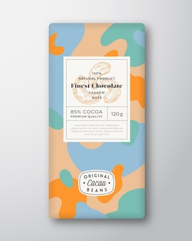 Nuts chocolate label abstract shapes vector packaging design layout with realistic shadows modern ty...