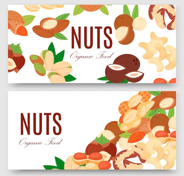Nuts collection flat cartoon set of banners