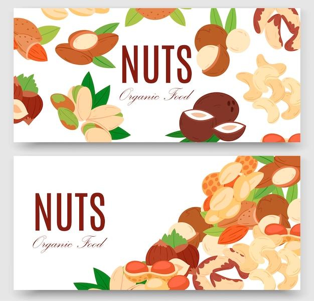 Коллекция орехов плоский мультфильм набор баннеров