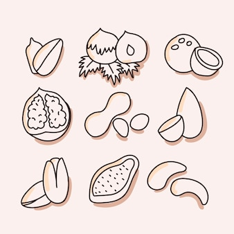 Nuts, dried fruits set of icon. hand draw