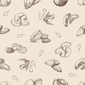 Nuts hand drawn doodles seamless pattern