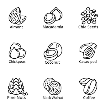 Nuts icon set, outline style