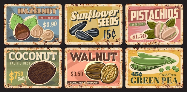 Nuts, legumes and seeds vintage rusty plates Premium Vector