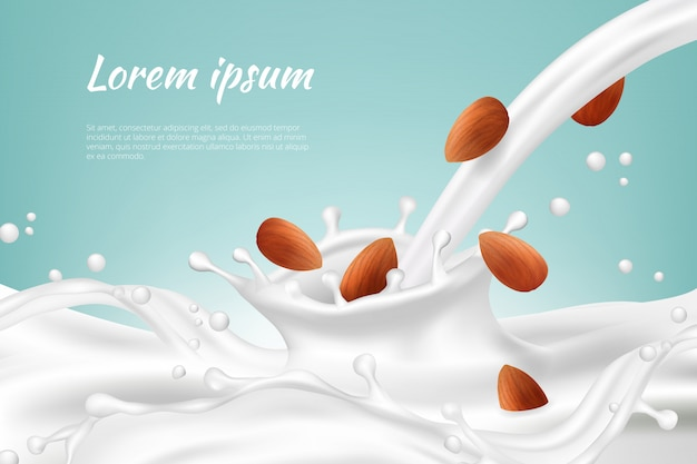 Nuts in milk. meal beverages nut cream vegan protein drink splashes with seed realistic