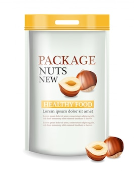 Nuts package realistic mock up
