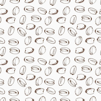 Nuts seamless pattern in hand drawn