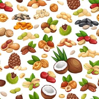 ナッツ、種子、穀物のシームレスなパターン、ベクトルイラスト。コーラナッツ、ヒマワリの種、ピスタチオ、カシューナッツ、ココナッツ、ヘーゼルナッツ。アーモンド、コーンナッツ、ナツメグ、栗、またはチュファタイガーナッツなど。