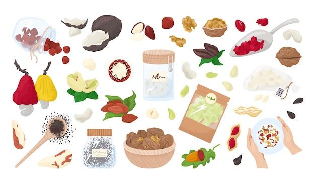 Орехи, семена, изолированные на белом коллекции. здоровая пища, органический миндаль, грецкий орех, фундук и арахис. вегетарианская здоровая закуска или диета. ядра. питание семян.