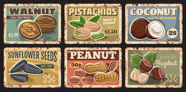 Nuts and seeds rusty plates. walnut, pistachios and coconut, sunflower seeds, peanut and hazelnut vector grungy tin signs. organic food market or farm banners, price tags