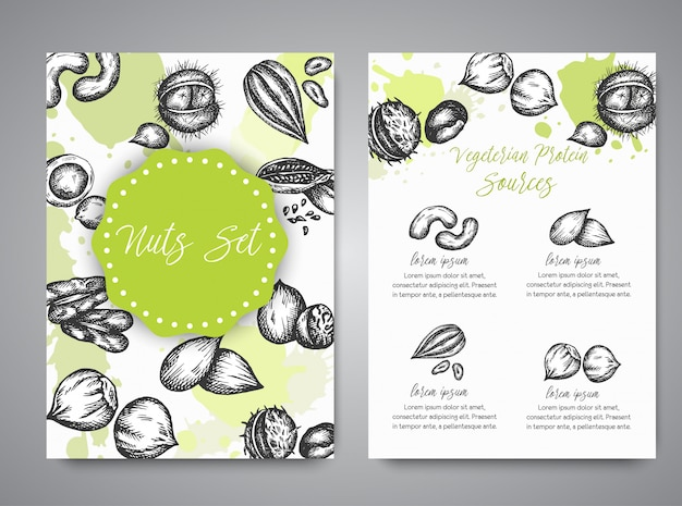 Nuts and seeds set of cards collection hand drawn illustration with nuts and seeds elements