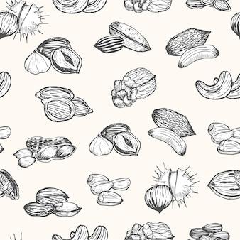 너트는 손으로 그리는 스케치 원활한 패턴을 설정합니다. 빈티지 스타일 프리미엄 벡터