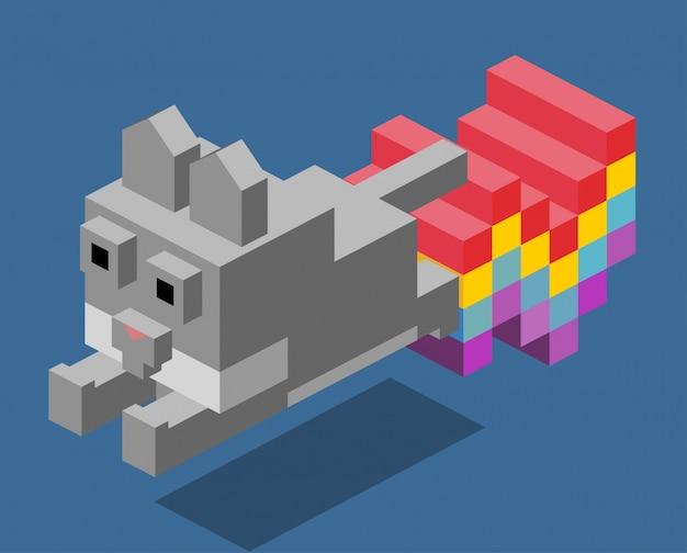 냥 고양이 3d pixelate