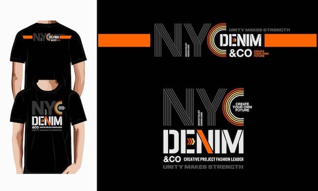 Nycデニムタイポグラフィtシャツデザイン