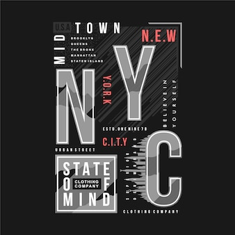Nyc graphic typography design ready to print