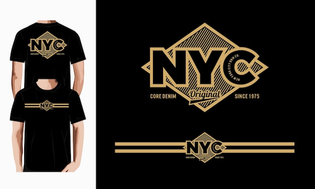 Nyc  graphic typography vector for t shirt print premium photo