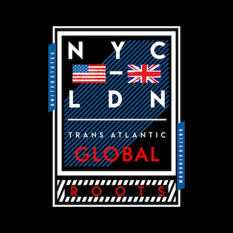 Nyc and london flag country design