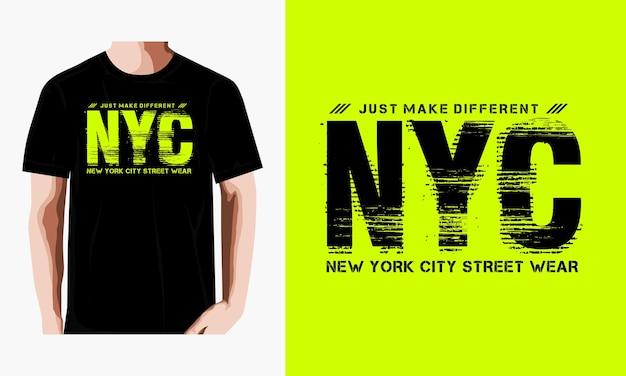 Дизайн футболки с одноцветным принтом nyc