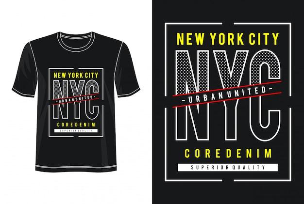 Nycタイポグラフィデザインtシャツ