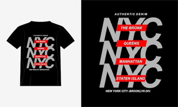 Дизайн типографики nyc для футболки с принтом премиум