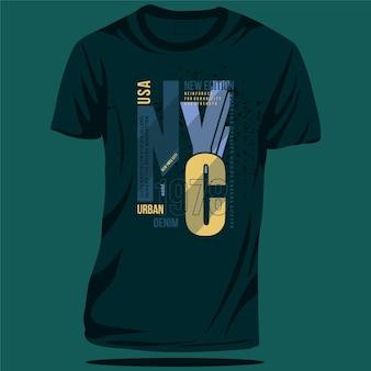 캐주얼 스타일에 좋은 뉴욕 도시 데님 그래픽 타이포그래피 티셔츠 벡터 디자인