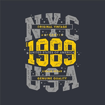 Nyc usa lettering spotted abstract typography design for t shirt print