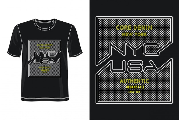 Nyc usa typography design t-shirt