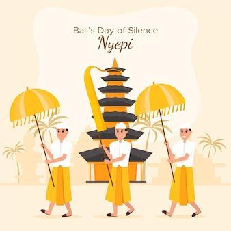 Illustrazione di celebrazione di nyepi